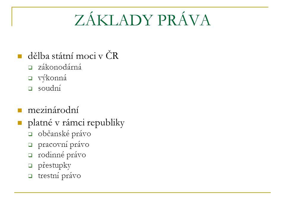 ZÁKLADY PRÁVA dělba státní moci v ČR mezinárodní