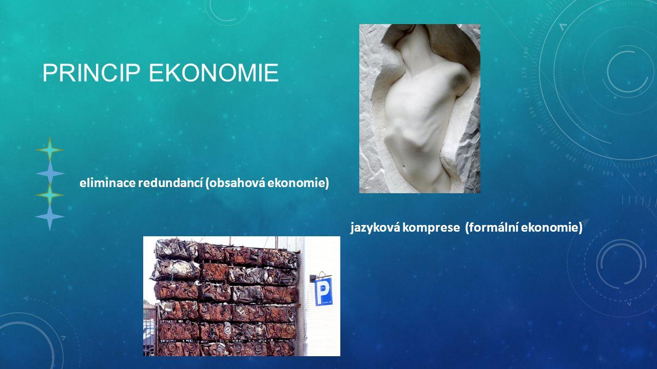 PRINCIP EKONOMIE eliminace redundancí (obsahová ekonomie)