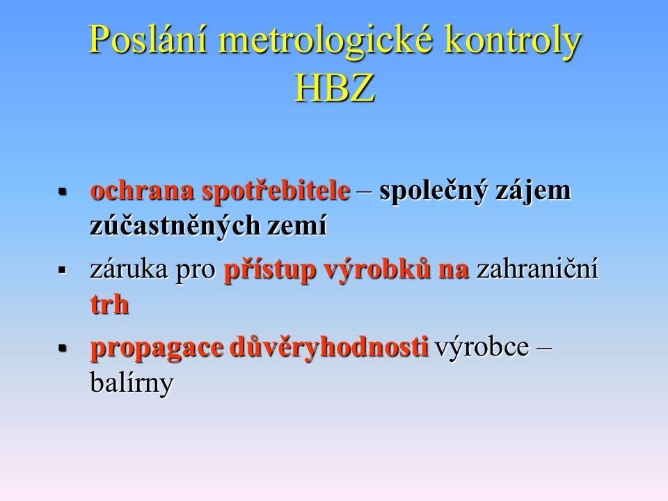 Poslání metrologické kontroly HBZ