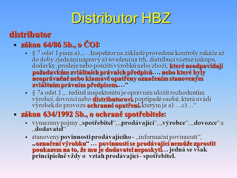 Distributor HBZ distributor zákon 64/86 Sb., o ČOI: