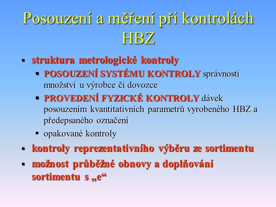 Posouzení a měření při kontrolách HBZ