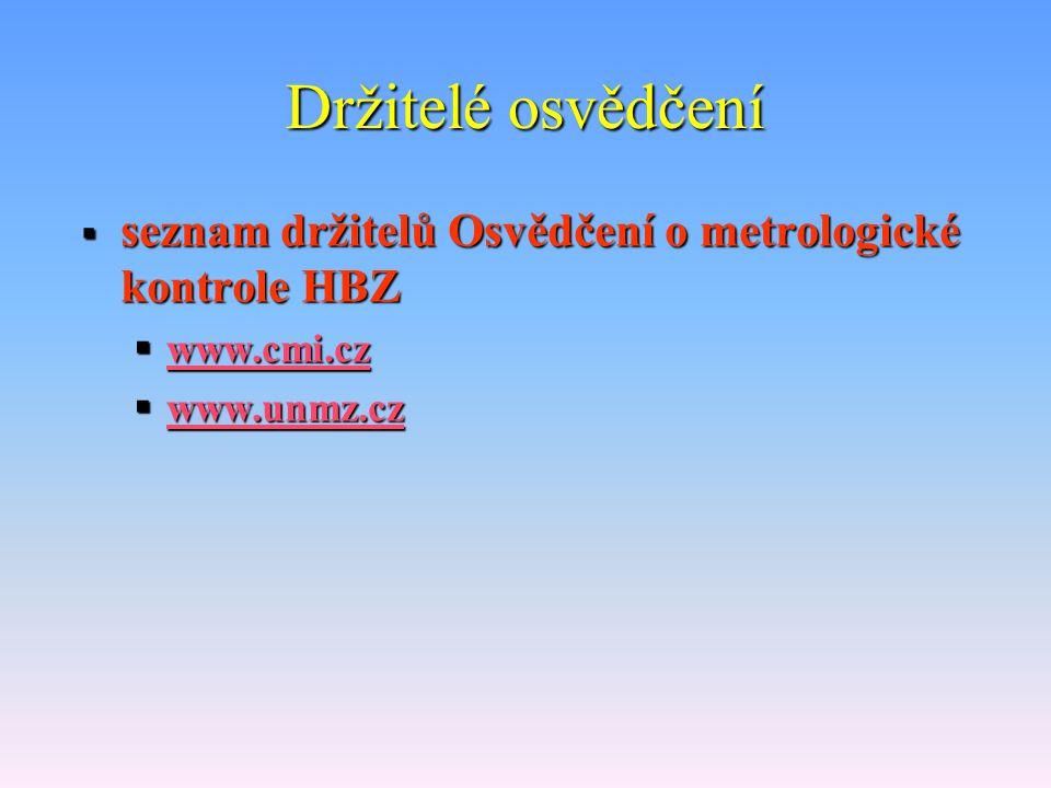 Držitelé osvědčení seznam držitelů Osvědčení o metrologické kontrole HBZ www.cmi.cz www.unmz.cz