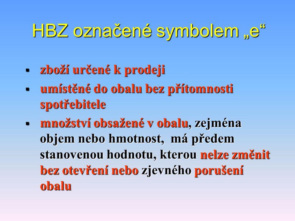 """HBZ označené symbolem """"e"""