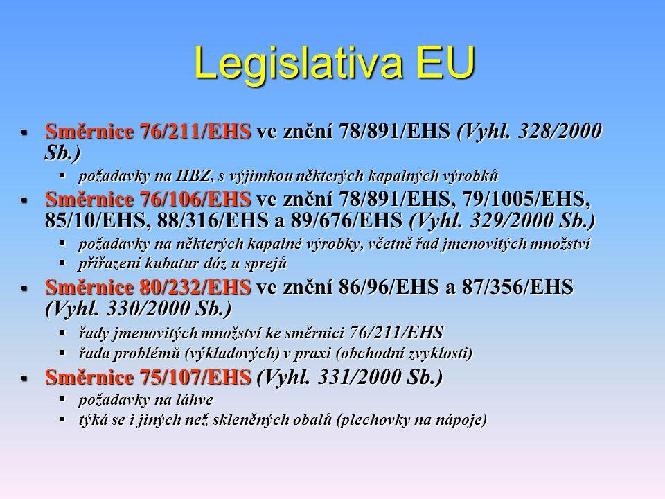 Legislativa EU Směrnice 76/211/EHS ve znění 78/891/EHS (Vyhl. 328/2000 Sb.) požadavky na HBZ, s výjimkou některých kapalných výrobků.