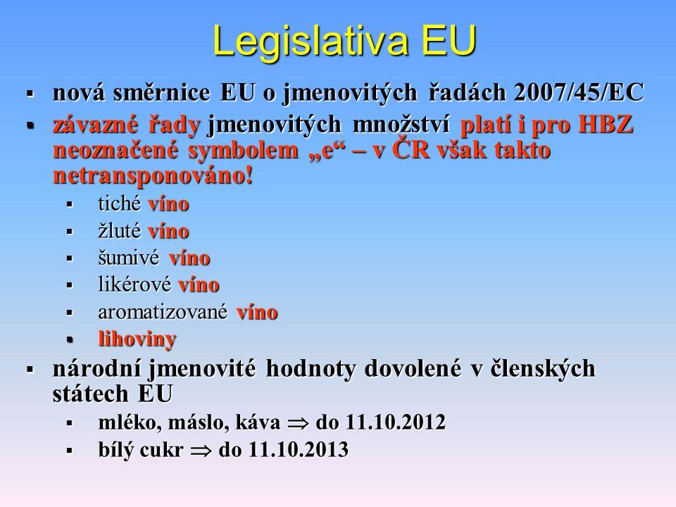 Legislativa EU nová směrnice EU o jmenovitých řadách 2007/45/EC