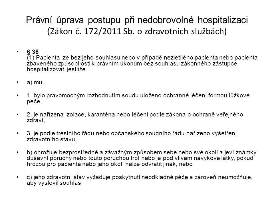 Právní úprava postupu při nedobrovolné hospitalizaci (Zákon č