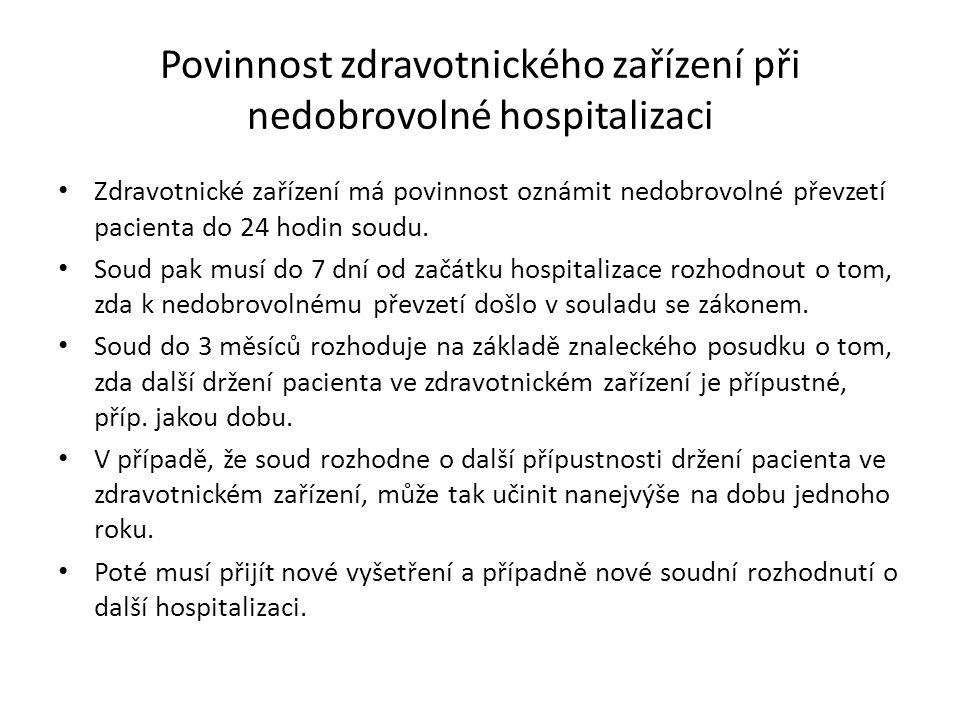 Povinnost zdravotnického zařízení při nedobrovolné hospitalizaci