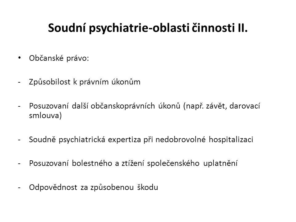 Soudní psychiatrie-oblasti činnosti II.