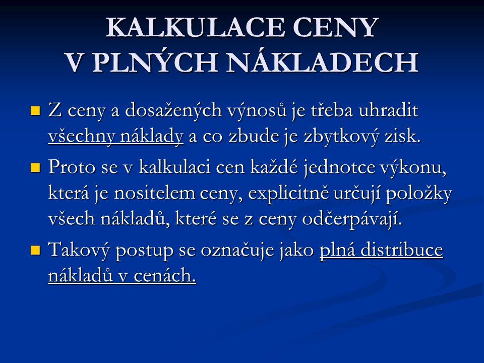 KALKULACE CENY V PLNÝCH NÁKLADECH