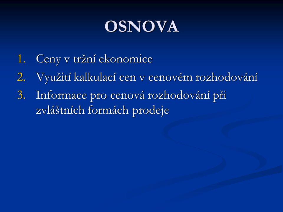 OSNOVA Ceny v tržní ekonomice
