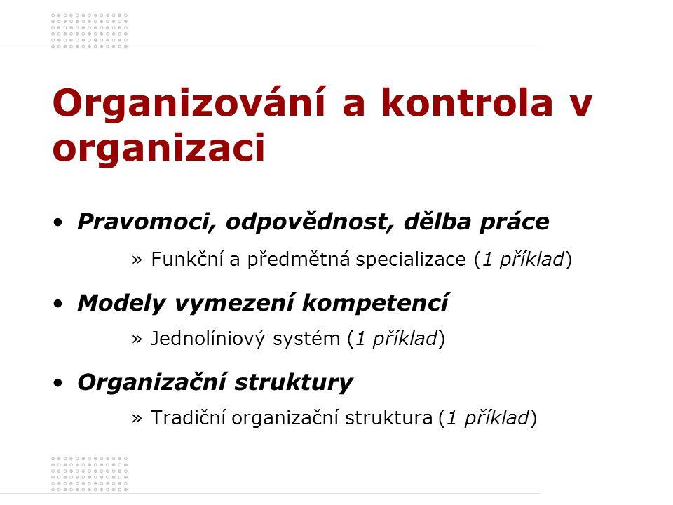 Organizování a kontrola v organizaci