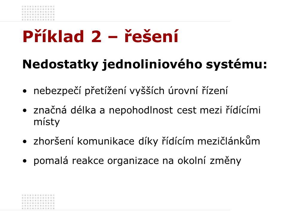 Příklad 2 – řešení Nedostatky jednoliniového systému:
