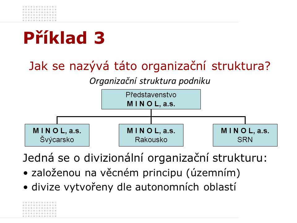 Příklad 3 Jak se nazývá táto organizační struktura
