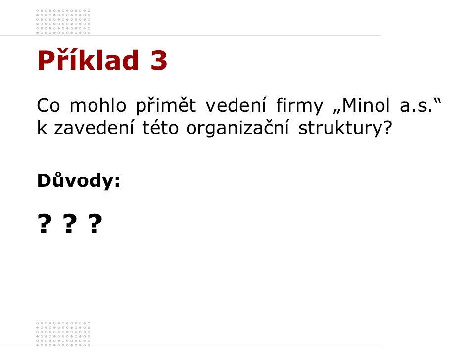 """Příklad 3 Co mohlo přimět vedení firmy """"Minol a.s. k zavedení této organizační struktury Důvody:"""