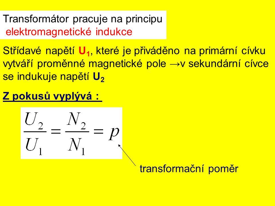 Transformátor pracuje na principu