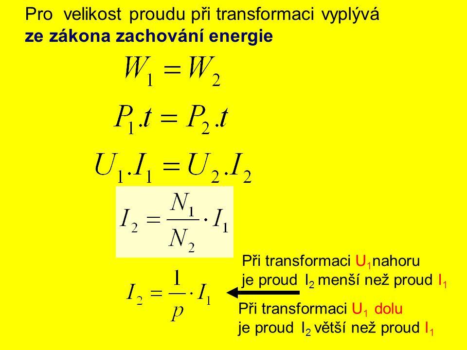 Pro velikost proudu při transformaci vyplývá