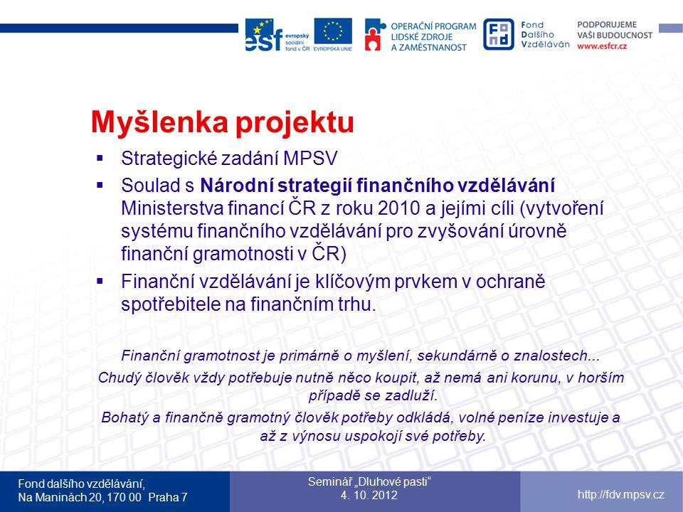 Myšlenka projektu Strategické zadání MPSV