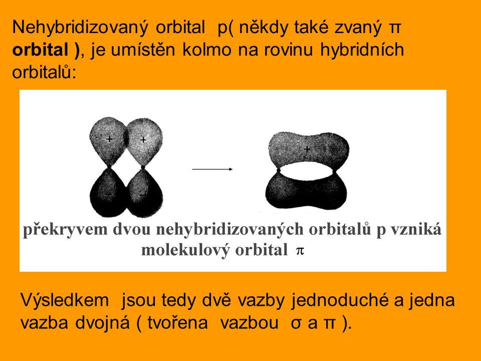 Nehybridizovaný orbital p( někdy také zvaný π orbital ), je umístěn kolmo na rovinu hybridních orbitalů: