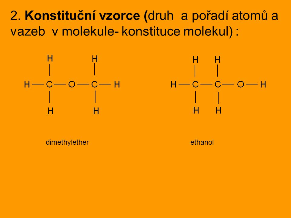 2. Konstituční vzorce (druh a pořadí atomů a vazeb v molekule- konstituce molekul) :