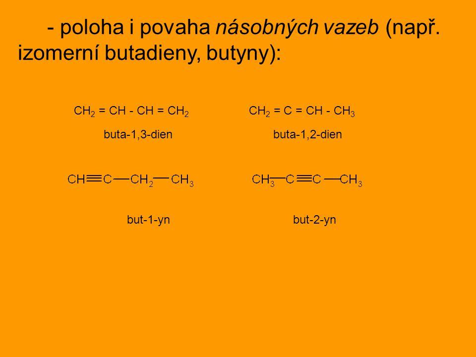 - poloha i povaha násobných vazeb (např. izomerní butadieny, butyny):