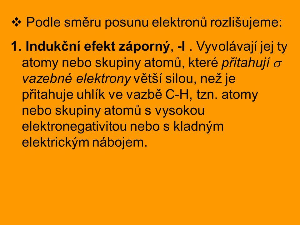 Podle směru posunu elektronů rozlišujeme: