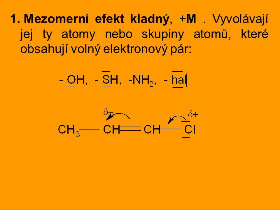 Mezomerní efekt kladný, +M