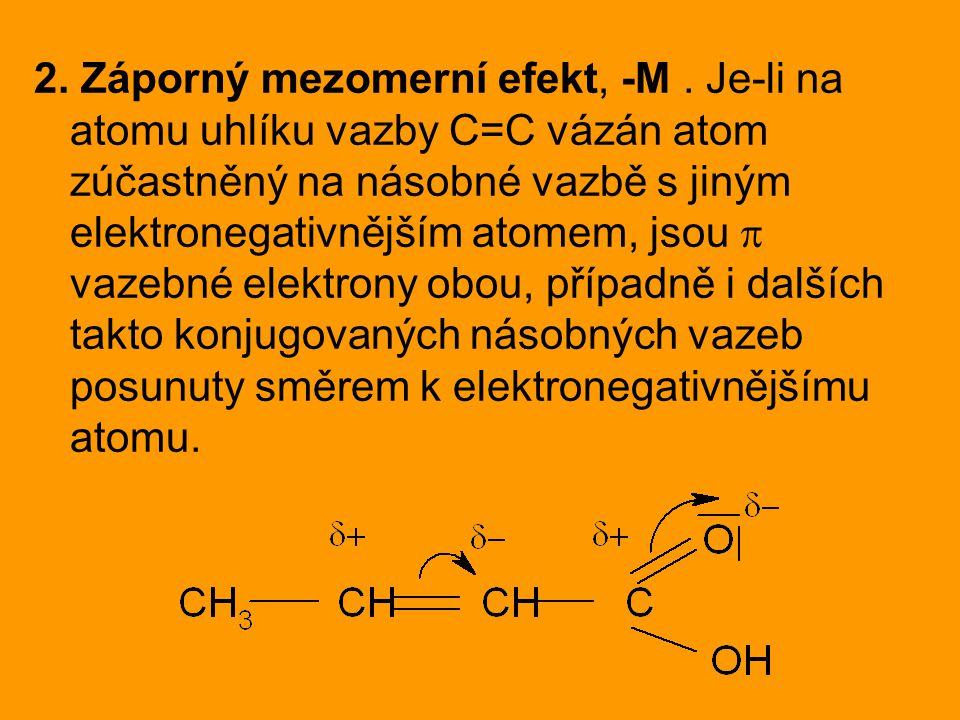 2. Záporný mezomerní efekt, -M
