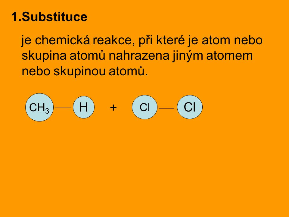 Substituce je chemická reakce, při které je atom nebo skupina atomů nahrazena jiným atomem nebo skupinou atomů.