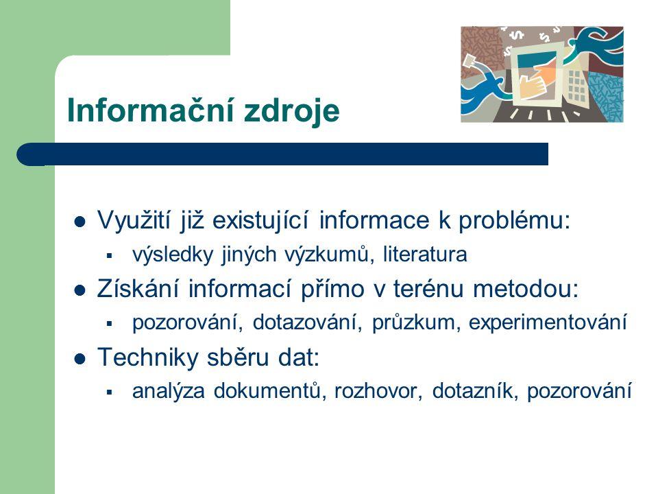 Informační zdroje Využití již existující informace k problému: