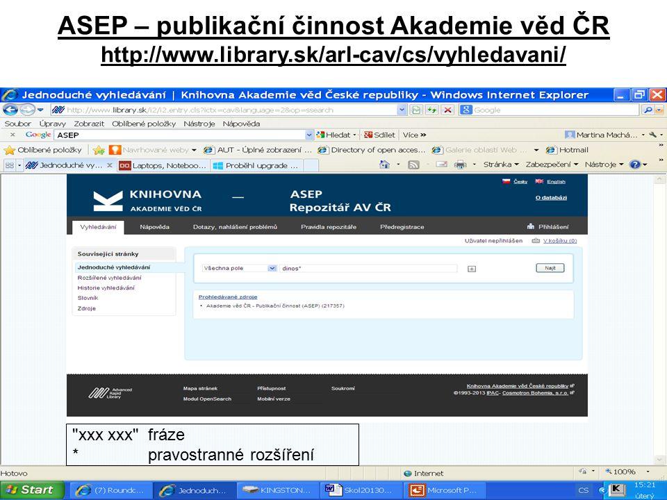 ASEP – publikační činnost Akademie věd ČR http://www. library