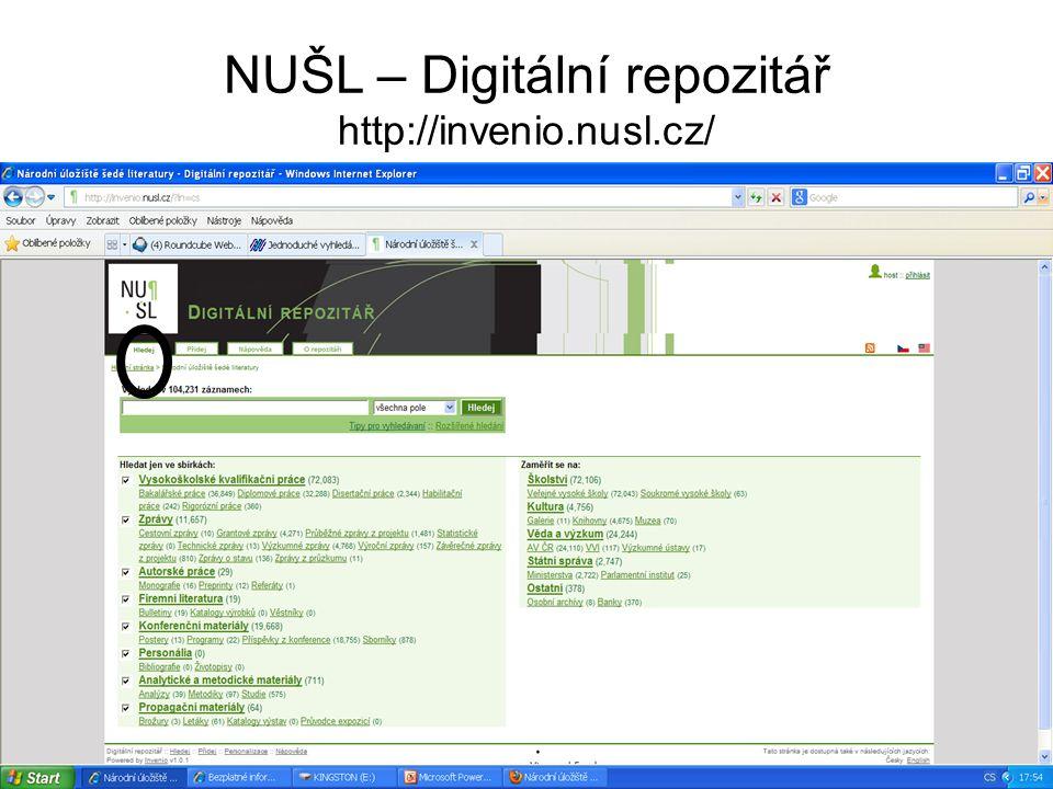 NUŠL – Digitální repozitář http://invenio.nusl.cz/