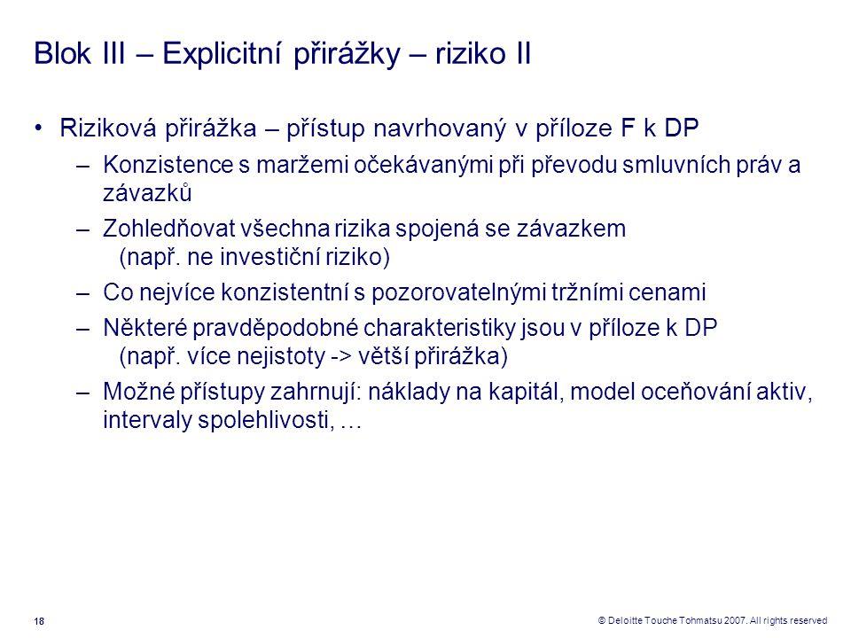 Blok III – Explicitní přirážky – riziko II