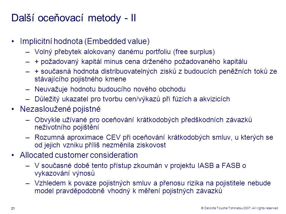 Další oceňovací metody - II