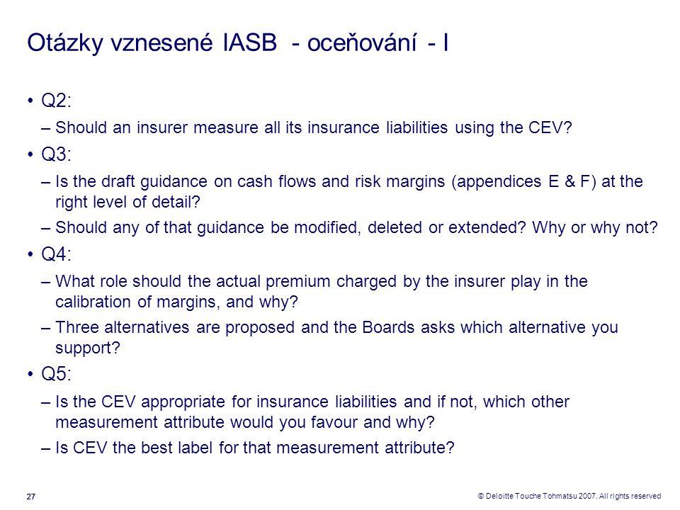 Otázky vznesené IASB - oceňování - I