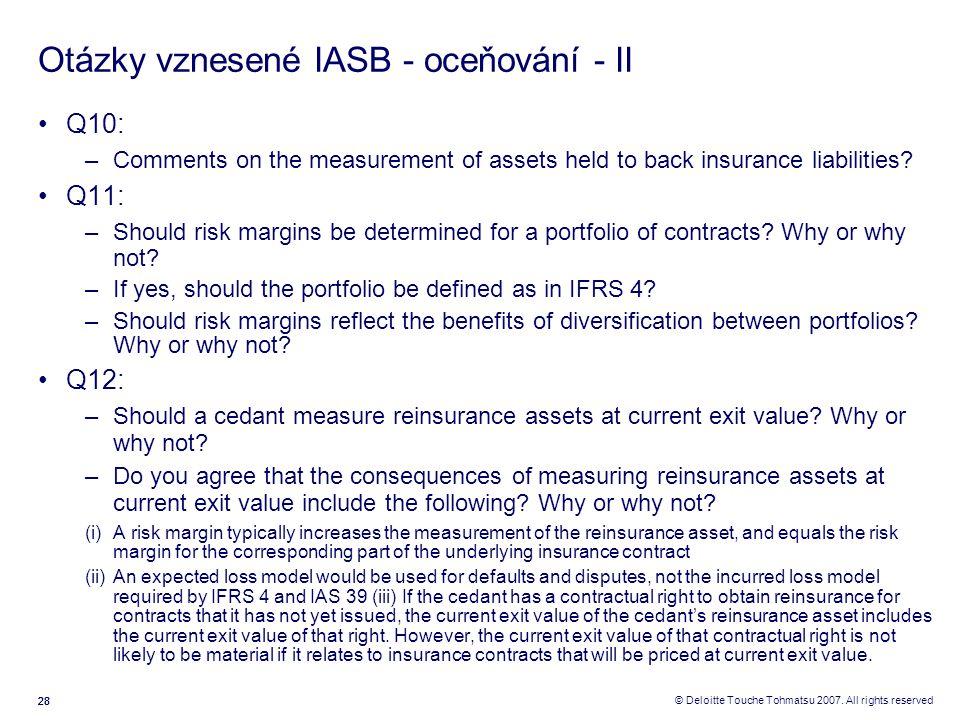 Otázky vznesené IASB - oceňování - II