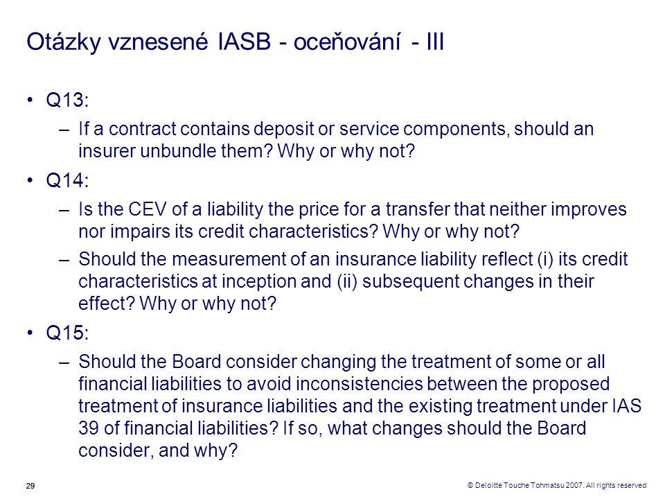 Otázky vznesené IASB - oceňování - III