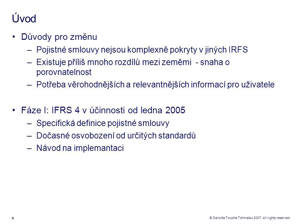 Úvod Důvody pro změnu Fáze I: IFRS 4 v účinnosti od ledna 2005