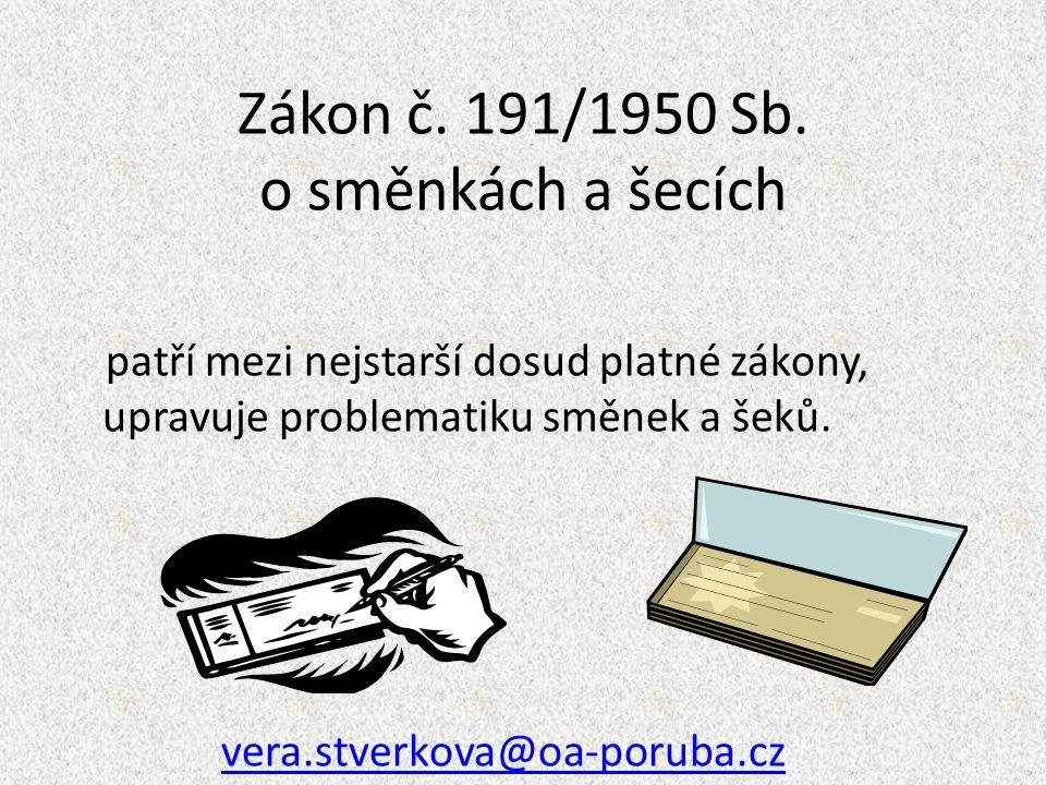 Zákon č. 191/1950 Sb. o směnkách a šecích