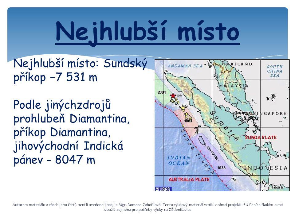 Nejhlubší místo Nejhlubší místo: Sundský příkop −7 531 m