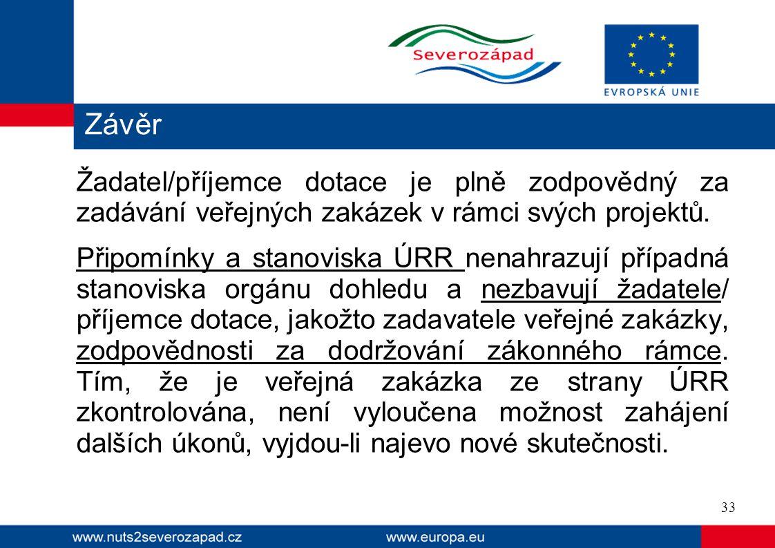 Závěr Žadatel/příjemce dotace je plně zodpovědný za zadávání veřejných zakázek v rámci svých projektů.