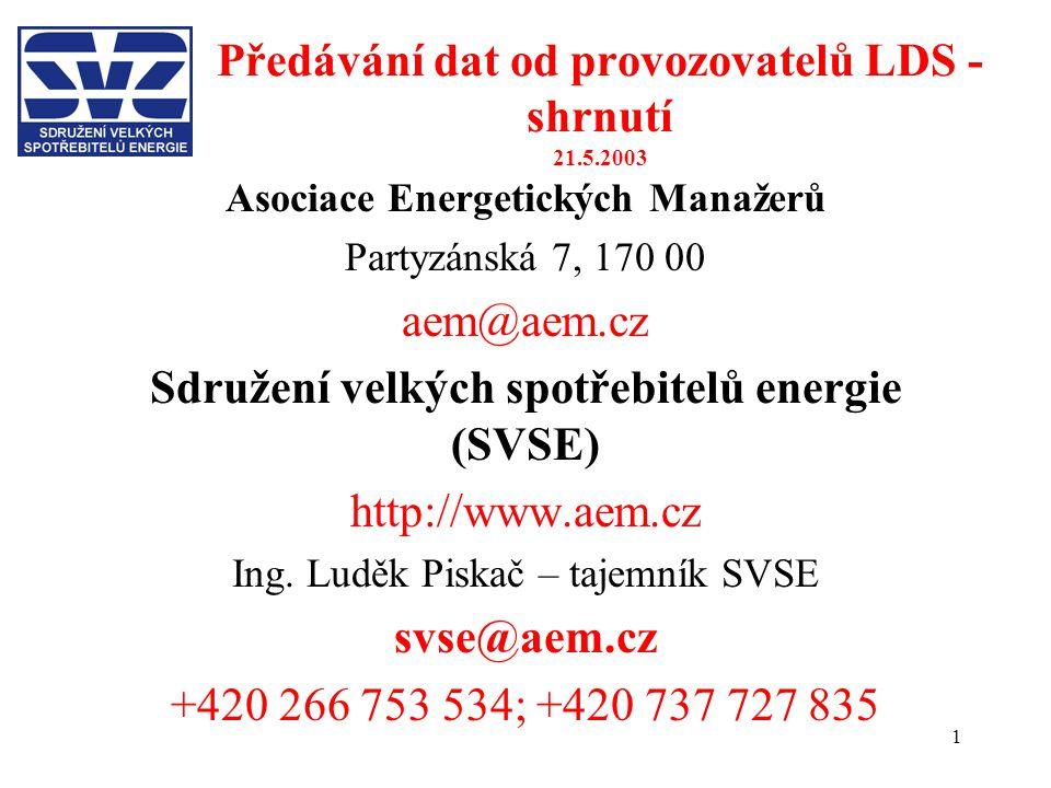 Předávání dat od provozovatelů LDS - shrnutí 21.5.2003