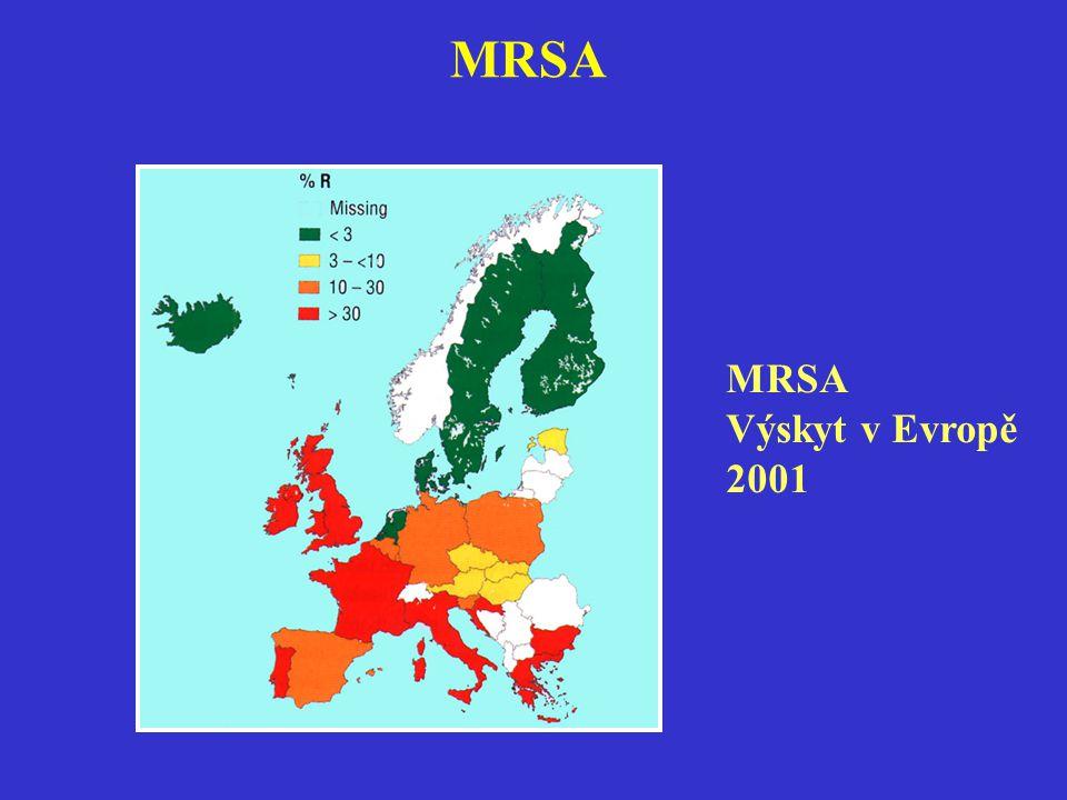 MRSA MRSA Výskyt v Evropě 2001