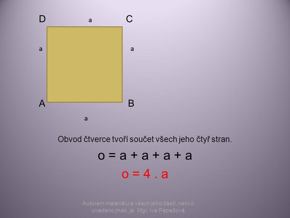 Obvod čtverce tvoří součet všech jeho čtyř stran.