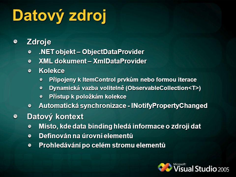 Datový zdroj Zdroje Datový kontext .NET objekt – ObjectDataProvider