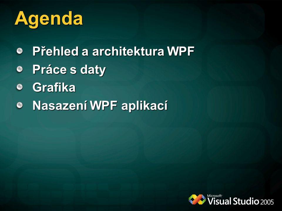 Agenda Přehled a architektura WPF Práce s daty Grafika