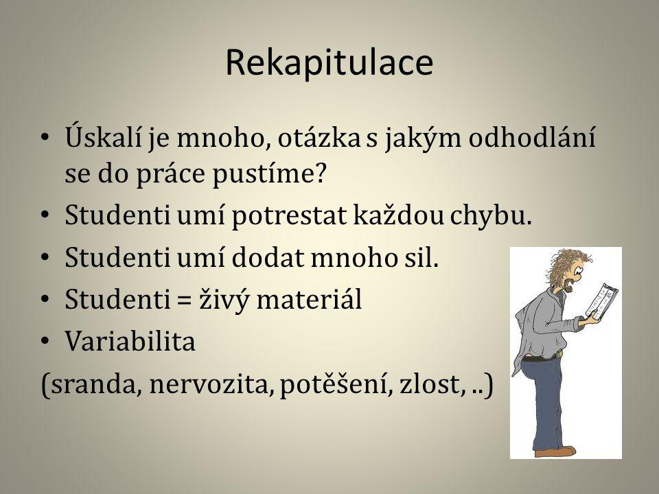 Rekapitulace Úskalí je mnoho, otázka s jakým odhodlání se do práce pustíme Studenti umí potrestat každou chybu.