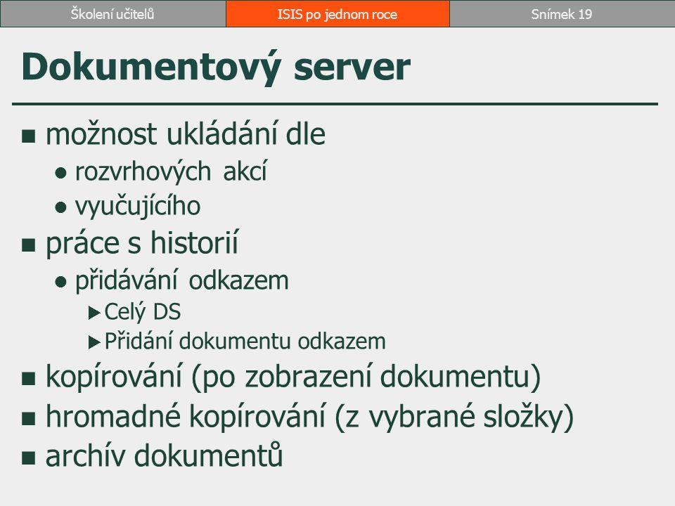 Dokumentový server možnost ukládání dle práce s historií