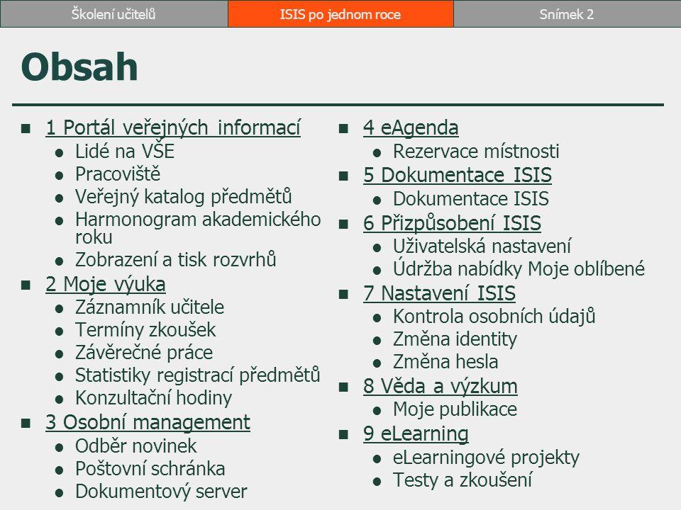 Obsah 1 Portál veřejných informací 4 eAgenda 5 Dokumentace ISIS
