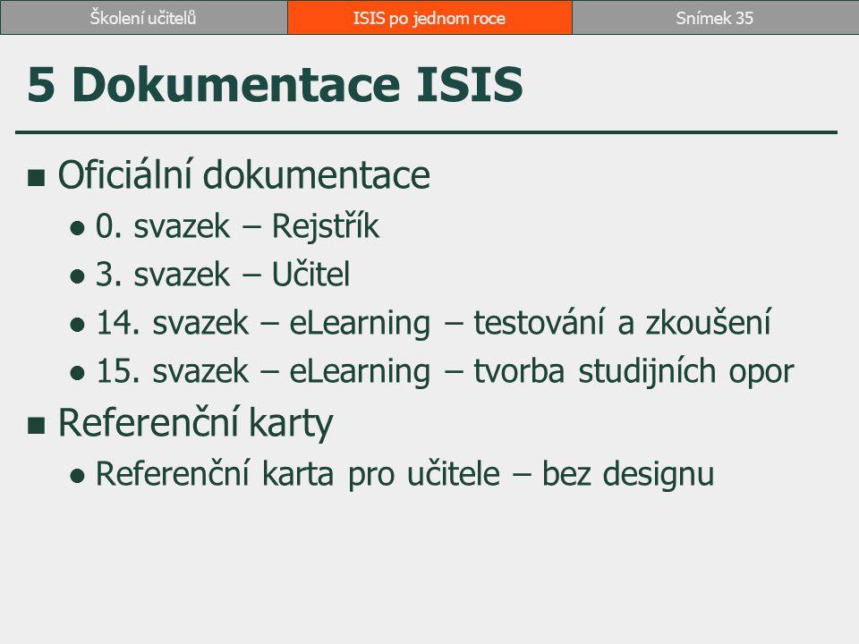 5 Dokumentace ISIS Oficiální dokumentace Referenční karty