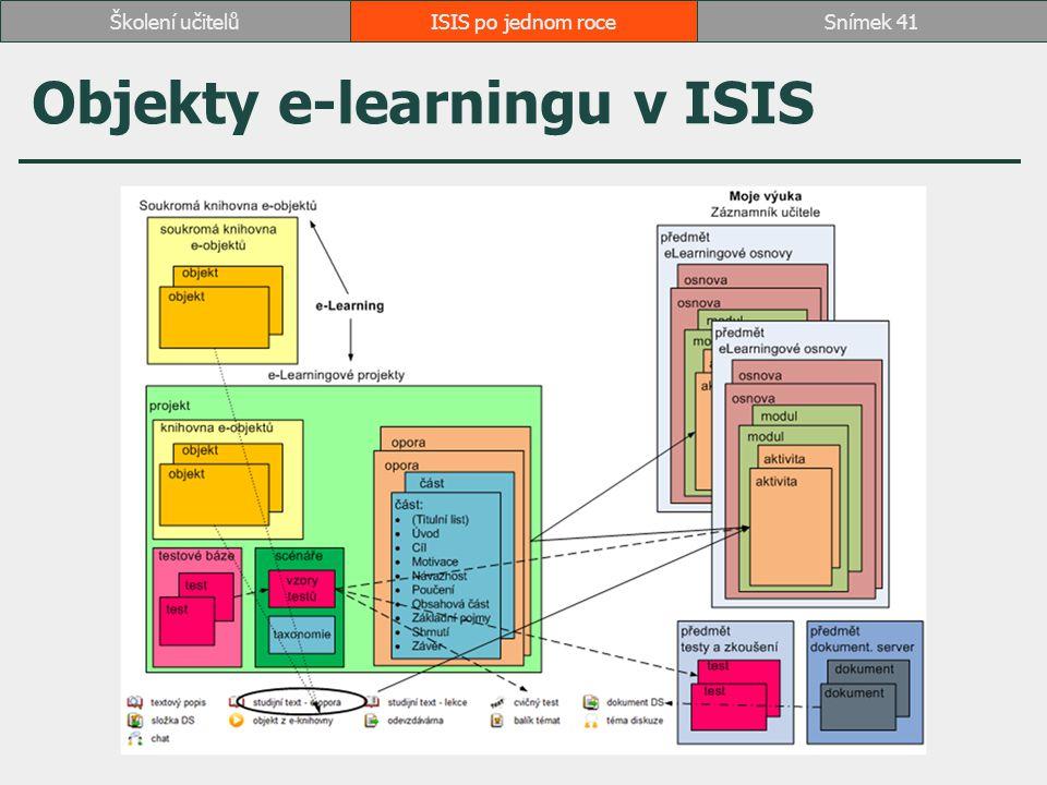 Objekty e-learningu v ISIS